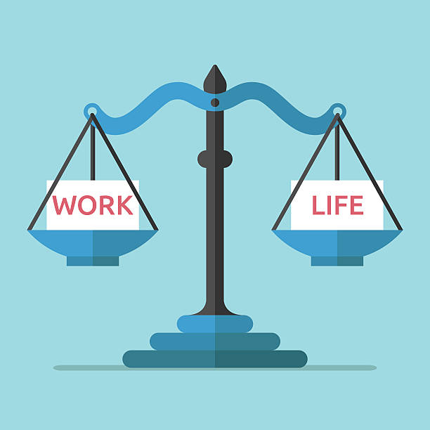 Scales, work and life vector art illustration