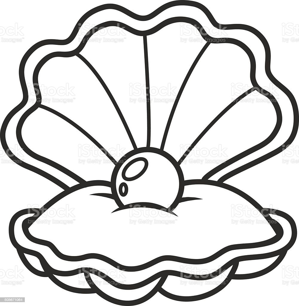 scallop seashell with pearl vector art illustration