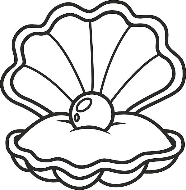 scallop seashell with pearl - pearl jewelry stock illustrations, clip art, cartoons, & icons