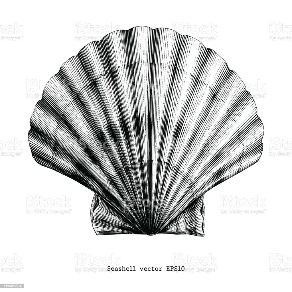 Scallops Seashell vintage clip art scallops seashell vintage clip art - stockowe grafiki wektorowe i więcej obrazów antyczny royalty-free