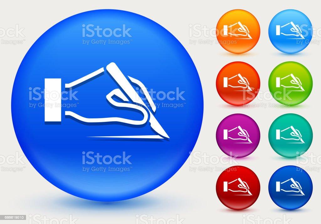 Icône de cuir chevelu sur cercle de couleur brillante boutons icône de cuir chevelu sur cercle de couleur brillante boutons – cliparts vectoriels et plus d'images de biologie libre de droits