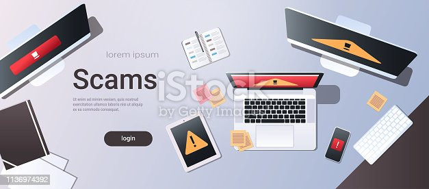 scam alert internet fraud hacking scams concept top angle view desktop computer monitor laptop tablet smartphone screen malware notification or error horizontal copy space vector illustration