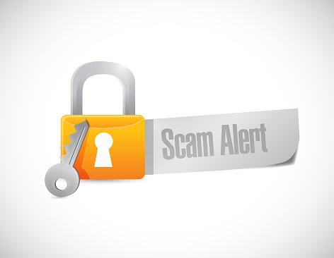 Scam alert message lock illustration