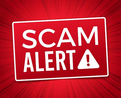Scam alert red warning red danger explosion alert background sign.