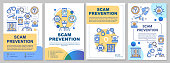 Scam prevention brochure template. Fraud protection flyer, booklet, leaflet, cover design with linear illustrations. Stopping illegal actions. Vector page layouts for magazines, advertising posters