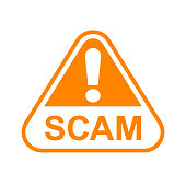 istock scam triangle sign orange for icon isolated on white, scam warning sign graphic for spam email message and error virus, scam alert icon triangle for hacking crime technology symbol concept 1231895799