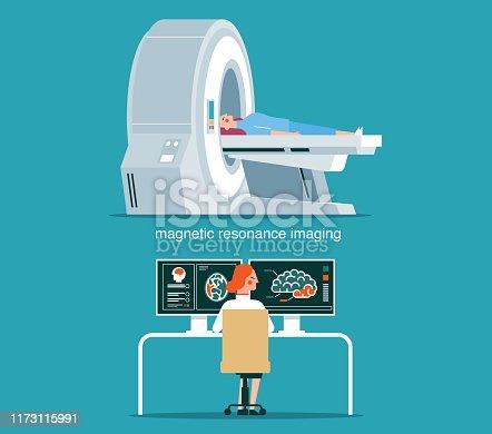 MRI scan and diagnostics. Health care vector concept stock illustration