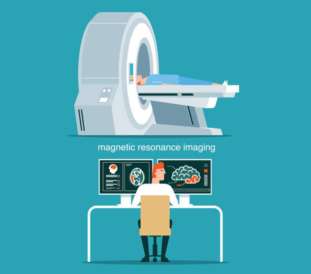 MRI scan and diagnostics MRI scan and diagnostics. Health care vector concept stock illustration radiology stock illustrations