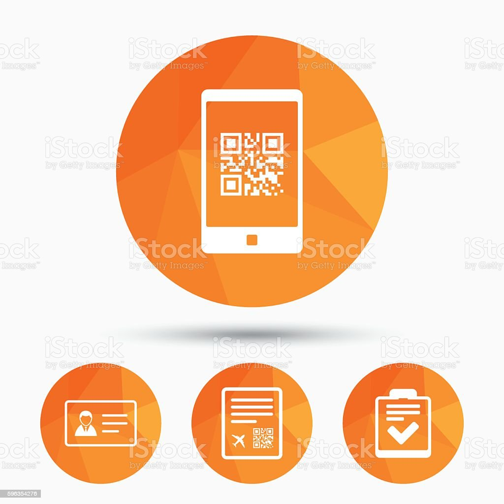 QR scan code icon. Boarding pass flight sign. royalty-free qr scan code icon boarding pass flight sign stock vector art & more images of airplane