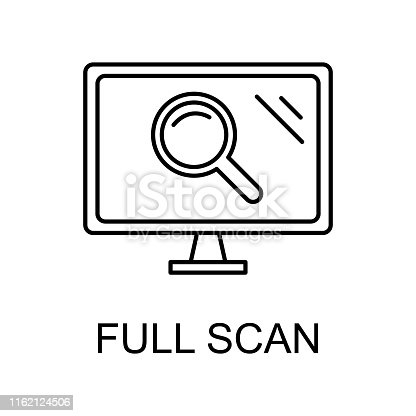 scan computer outline icon. Element of data protection icon with name for mobile concept and web apps. Thin line scan computer icon can be used for web and mobile on white background