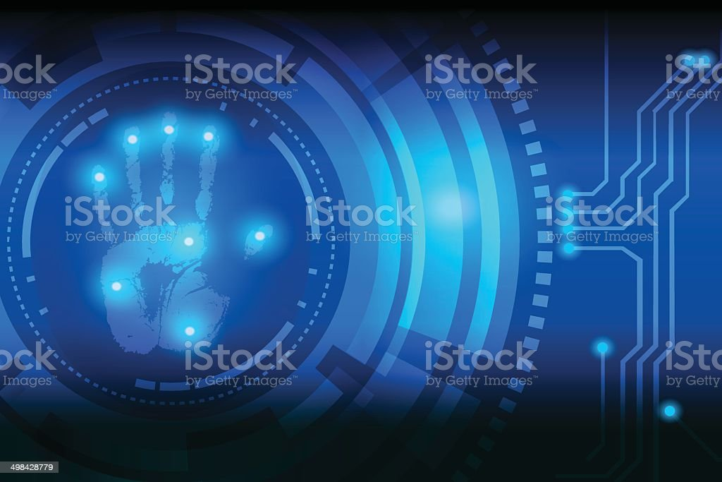scan handprint technology vector art illustration