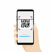 Scan QR code with Mobile phone. Scanning barcode with telephone.