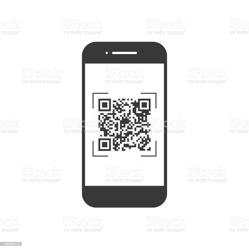 Scan Qr Code With Mobile Phone Symbol App Electronic Digital Technology  Barcode Vector Illustration Stock Illustration - Download Image Now