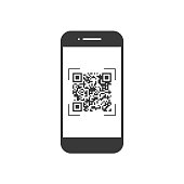 Scan QR code with mobile phone, symbol, app. Electronic , digital technology, barcode. Vector illustration.