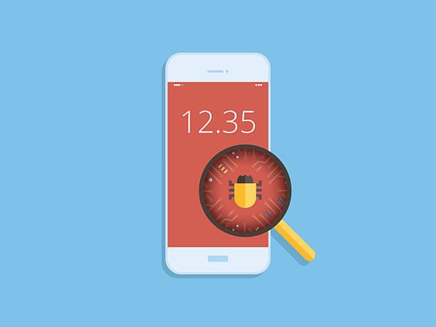 Scan virus on mobile, malware detected on mobile, flat design Scan virus on mobile, malware detected on mobile, flat design low scale magnification stock illustrations