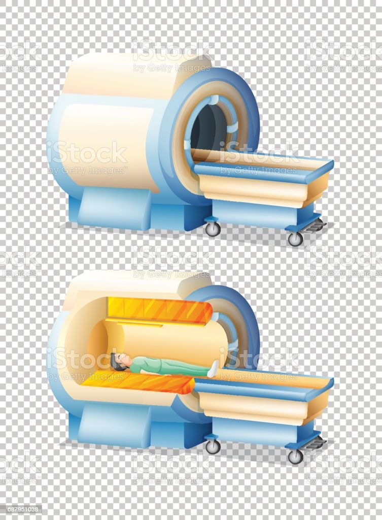 MRI scan with and without patient vector art illustration