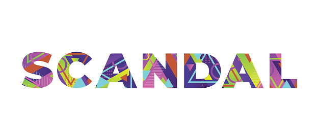 The word SCANDAL concept written in colorful retro shapes and colors illustration.
