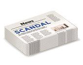 "headline ""scandal"" on the newspaper"