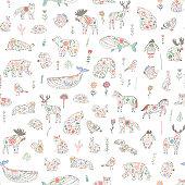 Scandinavian Folk Animals: seamless hand drawn patterns.
