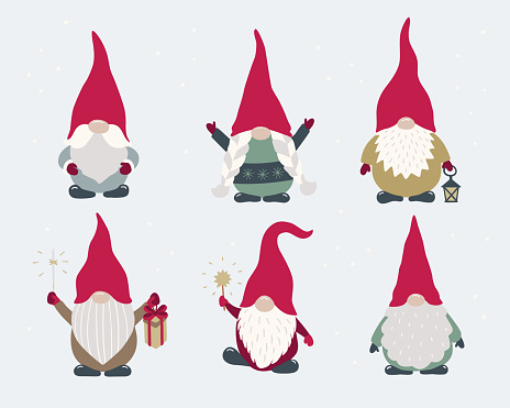 Scandi gnomes set isolated. Vector cartoon characters