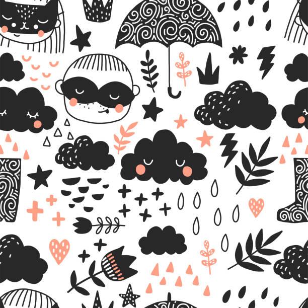 scandinavan stil kunst für kinder. nahtlose muster - kinderstiefel stock-grafiken, -clipart, -cartoons und -symbole