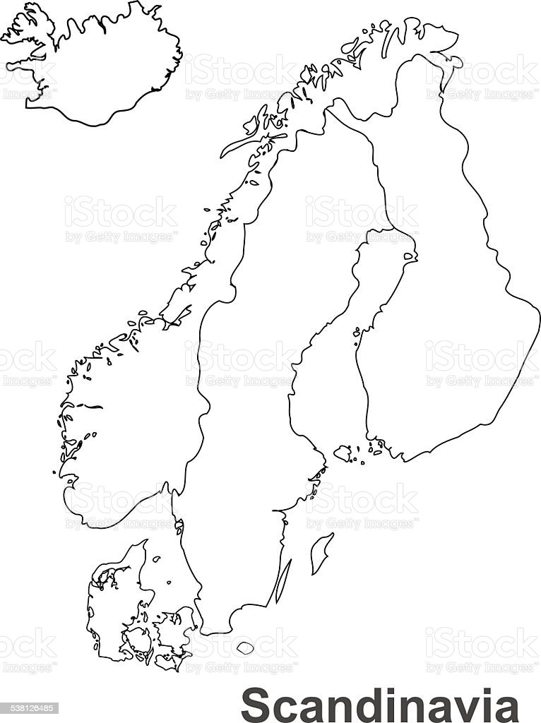 Scandinavia map in white background, scandinavia map vector, map vector vector art illustration
