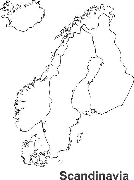 Scandinavia map in white background, scandinavia map vector, map vector Scandinavia map norway stock illustrations