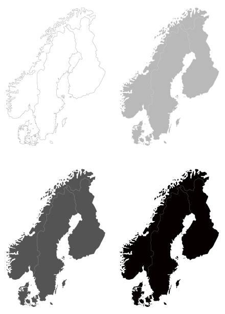 bildbanksillustrationer, clip art samt tecknat material och ikoner med scandinavia kartor - sweden map