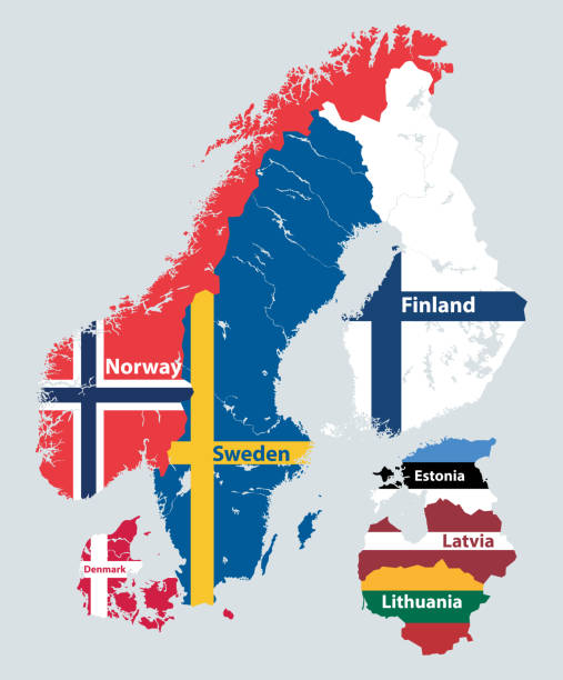 Scandinavian and Baltic regions countries political detailed map mixed with national flags. Vector illustration Scandinavian and Baltic regions countries political detailed map mixed with national flags. Vector illustration norway stock illustrations