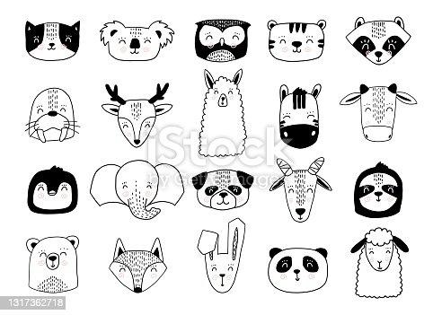 istock Scandinavian animals. Nordic cute animal set. Vector hand drawn panda, funny deer fox llama faces 1317362718