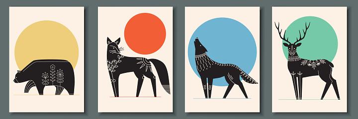 scandinavian animals posters