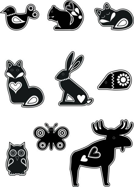 bildbanksillustrationer, clip art samt tecknat material och ikoner med skandinaviska djur - älg sverige