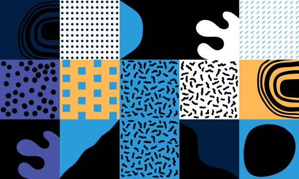 skandinavische kunstwerk vektor-muster - avantgarde stock-grafiken, -clipart, -cartoons und -symbole