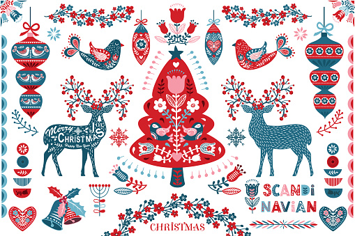 A vector illustration of Scandinavian Christmas Folk Art Design Elements . Perfect for invitation, web design, scrapbooking, papers, card making, stationery, card and many more.