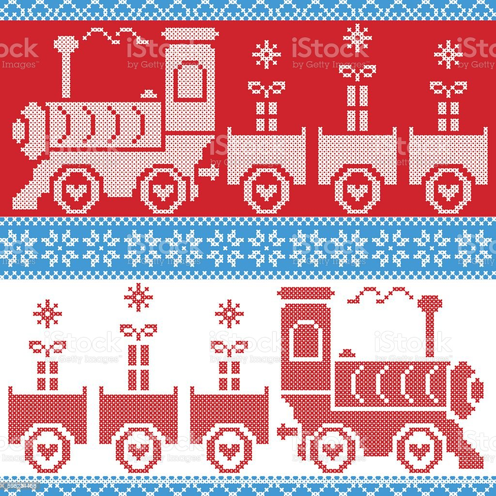 Scandinavian Christmas Nordic Seamless Pattern with gravy train, gifts, stars ilustração de scandinavian christmas nordic seamless pattern with gravy train gifts stars e mais banco de imagens de arte e artesanato - assunto royalty-free
