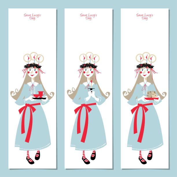 bildbanksillustrationer, clip art samt tecknat material och ikoner med scandinavian christmas set: etiketter, vykort, bokmärke, infoga. mall. saint lucys dag. - lucia