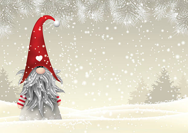 Scandinavian Christmas Traditional Gnome Tomte Illustration Vector Art
