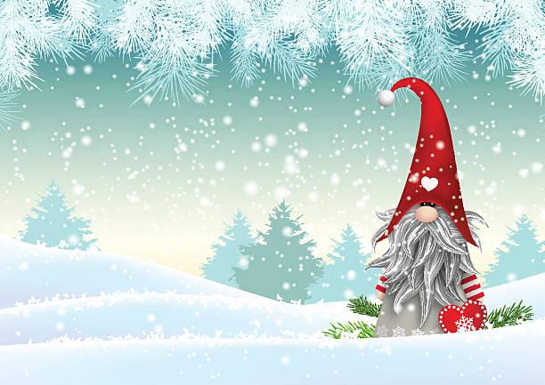 bildbanksillustrationer, clip art samt tecknat material och ikoner med scandinavian christmas traditional gnome, tomte, illustration - swedish nature
