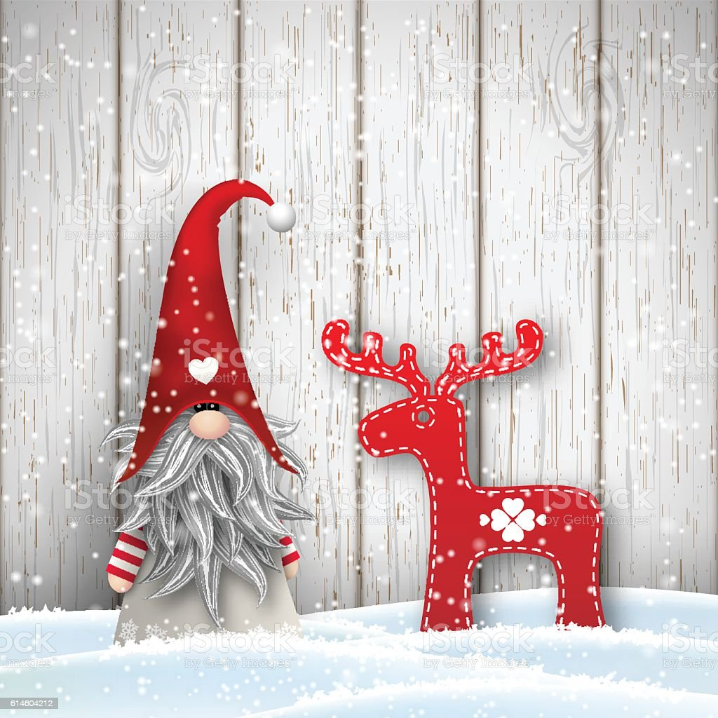 Scandinavian Christmas Traditional Gnome Tomte With Abstract ...