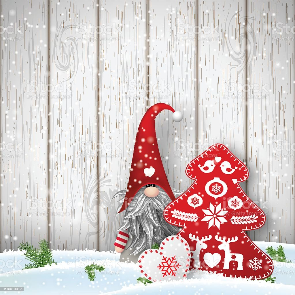 scandinavian christmas traditional gnome tomte with other seasonal decorations illustration royalty free scandinavian