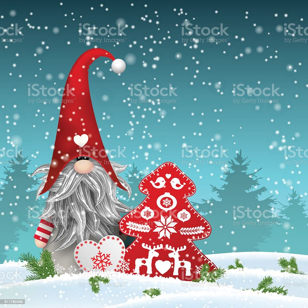 scandinavian christmas traditional gnome tomte with other seasonal decorations illustration royalty free scandinavian - Gnome Christmas Decorations
