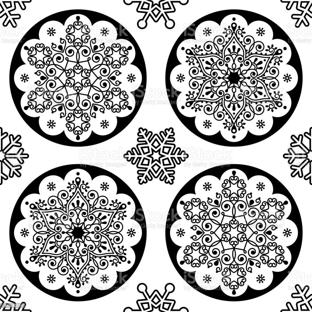 Scandinavian Christmas Vector Folk Pattern Snowflake Mandala
