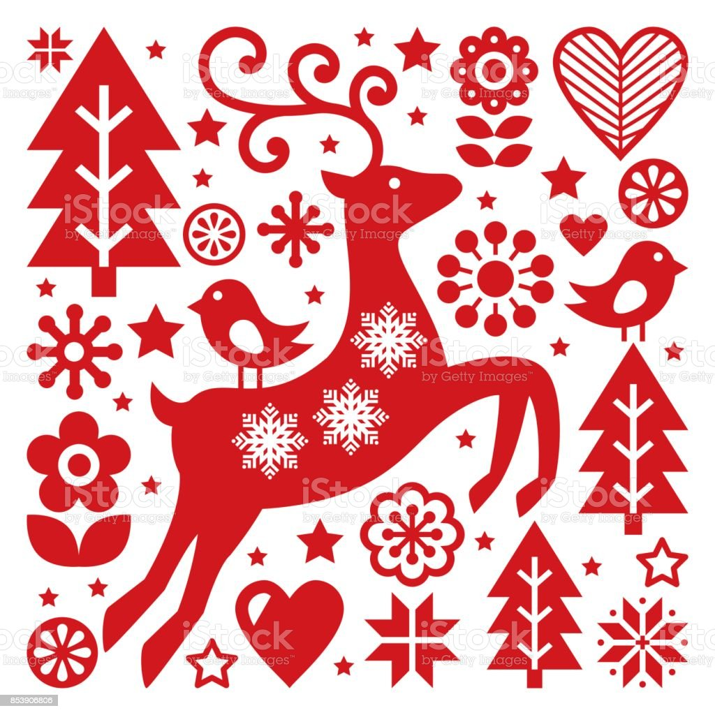 scandinavian christmas vector pattern nordic folk art reindeer birds and flowers decoration or - Nordic Christmas