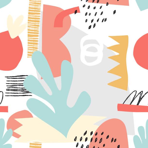 Scandinavian collage illustration background Vector seamless pattern living organism stock illustrations
