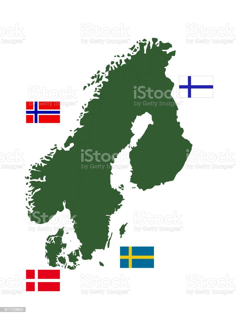 Scandinavian Countries Map And Flags Stock Illustration - Download ...