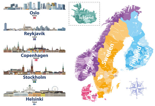 bildbanksillustrationer, clip art samt tecknat material och ikoner med skandinaviska länder karta med huvudstäder skylines ikoner. vektor illustration - skyline stockholm