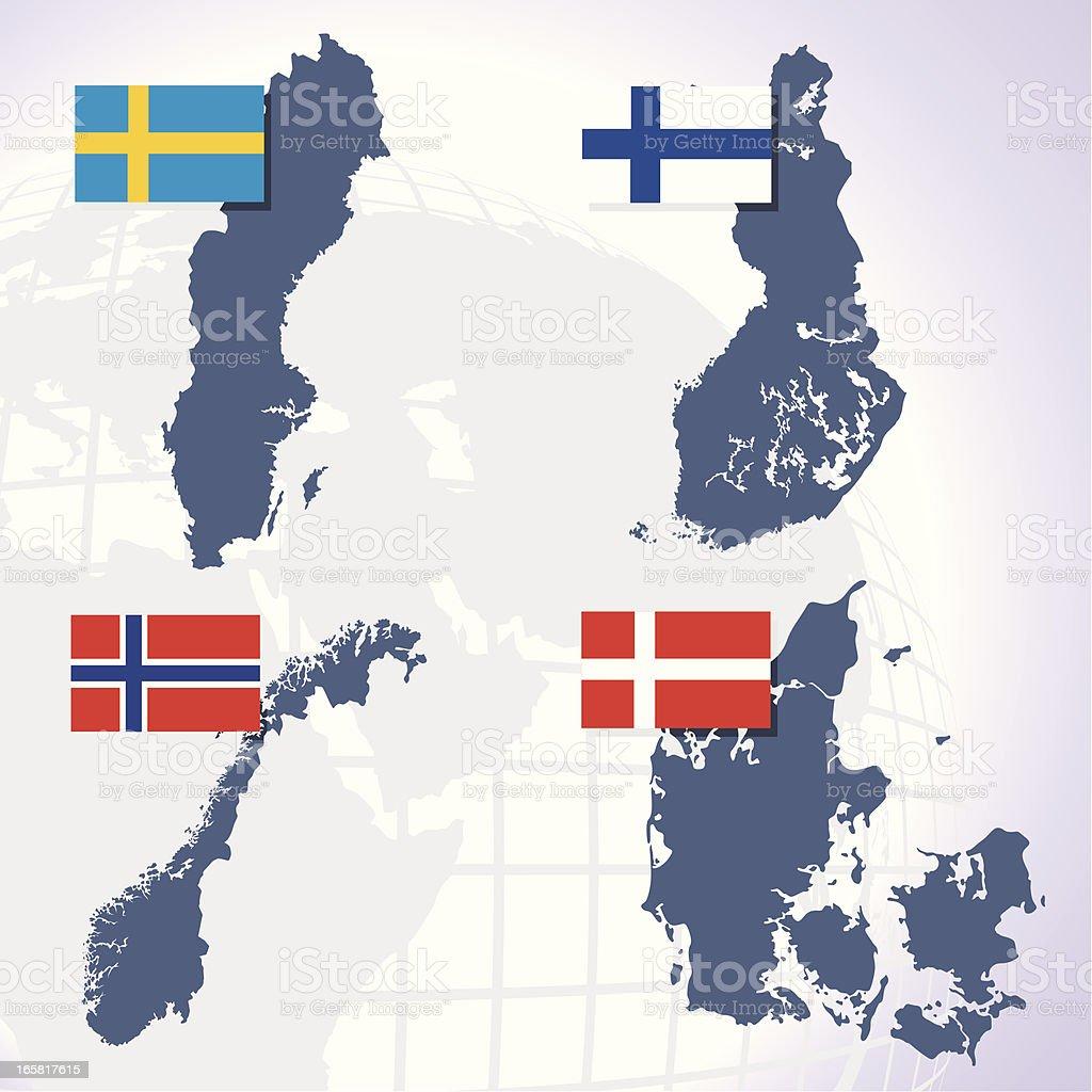 scandinavian countries vector art illustration