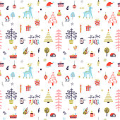 Scandinavian  cozy Christmas seamless pattern with cute hand drawn elements