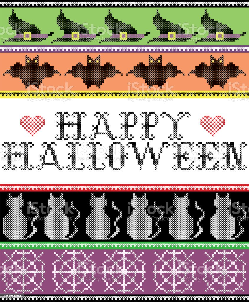 e2e58104a68 Scandinavian cross stitch and traditional American holiday inspired  seamless Happy Halloween pattern with bat