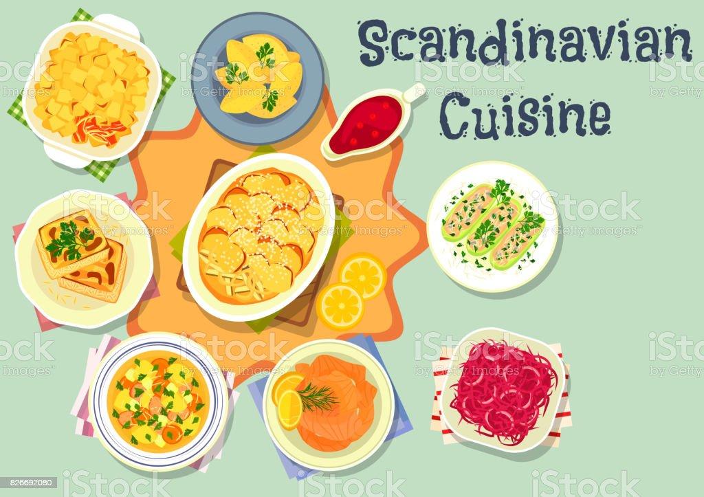 Scandinavian cuisine tasty dinner icon design vector art illustration